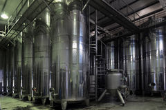 Vats of wine at the winery Stock Images