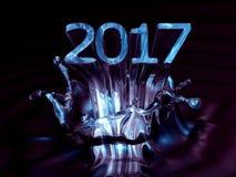 Vatten abstrakta Art Image i 2017 Typografisk konstkort för nytt år Royaltyfri Fotografi