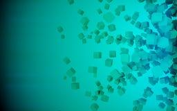 Vatten de groene kubussen achtergrond, 3d Illustratie samen Stock Foto