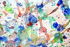 Vatten de verf kleurrijke plonsen, kleurrijke levendige pastelkleurachtergrond, kleurrijke textuur samen Stock Foto