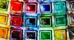 Vatten-färg ljusa målarfärger Arkivfoton