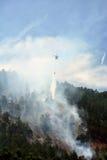 Vatten för droppar för Chinook brandbekämpninghelikopter på en Forest Fire in Arkivfoto