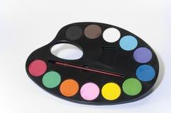 vatten för färgmålarfärgpalett Arkivfoton