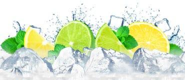 vatten för färgstänk för fruktcitronlimefrukt royaltyfria bilder
