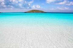 Vatten för Formentera strandturkos fotografering för bildbyråer