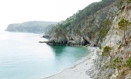 vatten för sikt för oklarhetshavsky Naturbakgrund med inget Morgat Crozon halvö, Brittany, Frankrike arkivbilder