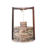 Vatten för traditionell kines väl med blocket och hinken isolerade nolla Royaltyfria Foton