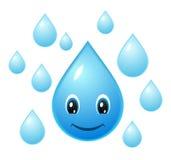 vatten för vektor för droppsymbolssmiley Royaltyfri Bild