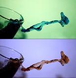 vatten för 2 färgstänk Royaltyfria Bilder