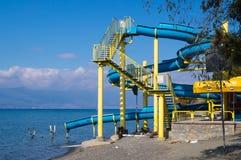 Vatten glider in i sjön av Ohrid royaltyfria bilder