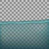 Vatten hav, hav med stordian på genomskinlig bakgrund Royaltyfri Foto