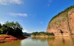 Vatten i kanjonen, Dajin sjö, Fujian, Kina Arkivbild