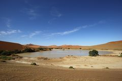 Vatten i Sossusvlei Arkivbild