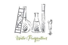 Vatten kemikalie, vetenskap, labb, vetenskapligt begrepp Hand dragen isolerad vektor vektor illustrationer