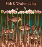 Vatten lilly och fisken vektor illustrationer