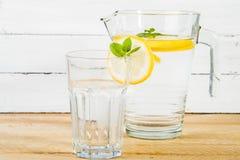 Vatten med citronen och mintkaramellen Arkivbilder