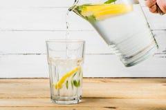 Vatten med citronen och mintkaramellen Royaltyfria Foton