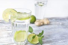 Vatten med limefrukt och ingefäran royaltyfri fotografi