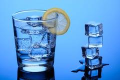 Vatten med is och citronen royaltyfri bild