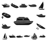 Vatten- och havstransport svärtar symboler i uppsättningsamlingen för design En variation av fartyg- och skeppvektorsymbolet lage royaltyfri illustrationer