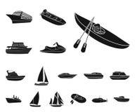 Vatten- och havstransport svärtar symboler i uppsättningsamlingen för design En variation av fartyg- och skeppvektorsymbolet lage vektor illustrationer