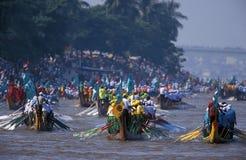 Vatten- och månefestival i Phnom Penh Kambodja Arkivfoton