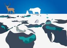 Is, vatten och snö stock illustrationer