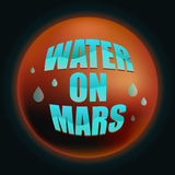 Vatten på Mars illustrationen Arkivbilder