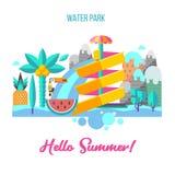 Vatten parkerar Hello sommar också vektor för coreldrawillustration stock illustrationer