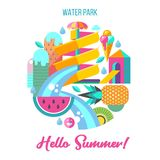 Vatten parkerar Hello sommar också vektor för coreldrawillustration vektor illustrationer