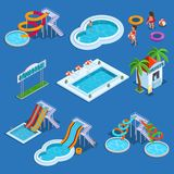 Vatten parkerar och den isometriska vektorillustrationen för simbassäng Arkivfoto