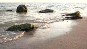 Vatten, sand och stenar stock video