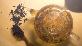 Vatten som häller i tekanna med svart te arkivfilmer
