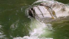 Vatten som kraschar in i en enorm sten stock video