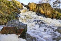 Vatten som snabbt flödar i den lilla floden royaltyfri foto