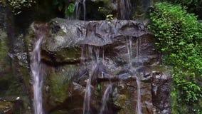 Vatten som strömmar över något stort, vaggar, den lilla trädgårds- vattenfallet, trädgårdgarneringar, naturbakgrund