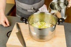 Vatten till att laga mat pannan Fotografering för Bildbyråer