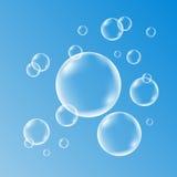 Vatten-, tvål-, gas- eller luftbubblor med reflexion royaltyfri illustrationer