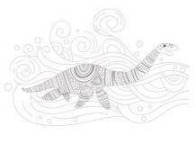 Vatten- vektor för dinosauriefärgläggningsida cartoon Isolerad konst vektor illustrationer