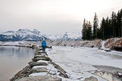 Vattenbehållare sjön, Schmittenhöhe, Zell f.m. ser, Österrike Royaltyfri Fotografi