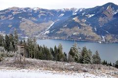 Vattenbehållare sjön, Schmittenhöhe, Zell f.m. ser, Österrike Arkivbilder