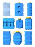 Vattenbehållare Ställ in av olika trummor i tecknad filmstil royaltyfri illustrationer