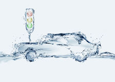 Vattenbil & trafikljus Arkivbild