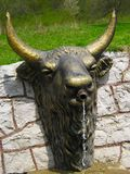 Vattenbrunn i skogen med en staty i form av ett bisonhuvud royaltyfri bild