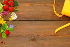 Vattencan, blommor och jordgubbe på det Wood brädet Royaltyfri Fotografi