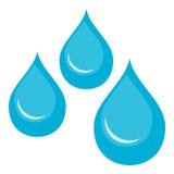 Vattendroppar sänker symbolen som isoleras på vit Arkivbilder