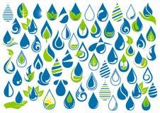 Vattendroppe, logo, handomsorg, trädgård, natur, olja, sunt, ekologi och uppsättning för symbol för vattensymboldesign royaltyfri illustrationer