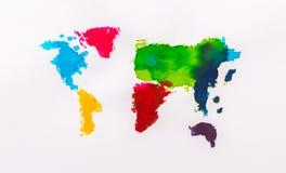 Vattenfärgöversikt av världen stock illustrationer