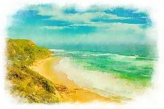 Vattenfärg av den Glenair stranden i Australien stock illustrationer