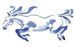 Vattenfärg av den rinnande hästen royaltyfria bilder